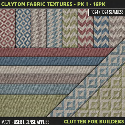 Clutter - Clayton Fabric Textures - PK 1 - 16PK - ad