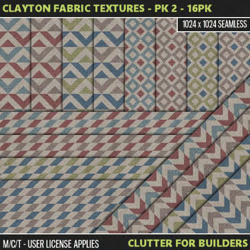 Clutter - Clayton Fabric Textures - PK 2 - 16PK - ad