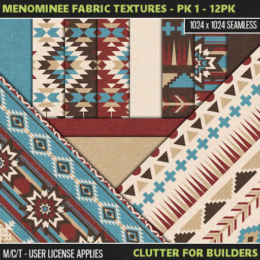 Clutter - Menominee Fabric Textures - Pk 1 - 12PK - ad