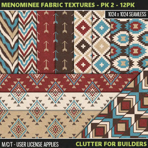 Clutter - Menominee Fabric Textures - Pk 2 - 12PK - ad