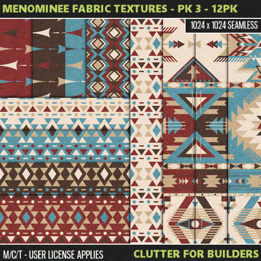 Clutter - Menominee Fabric Textures - Pk 3 - 12PK - ad