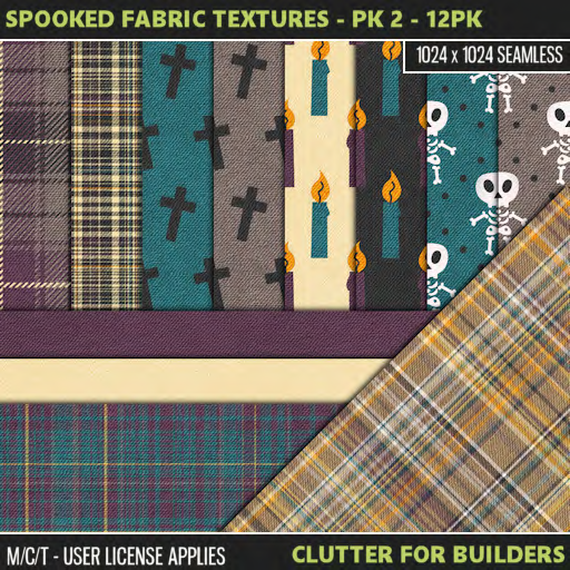 Clutter - Spooked Fabric Textures - Pk 2 - 12PK - ad